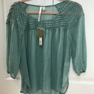 Green see through blouse